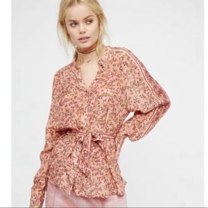Free People Skyway Drive-In top blouse size small